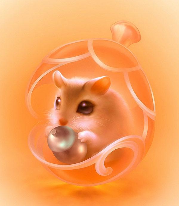 一张手绘风格的老鼠高清图片,素材以橙色为主要色调,小老鼠用爪子捧