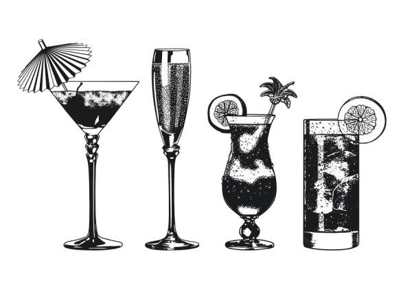 黑白饮料杯玻璃杯矢量素材