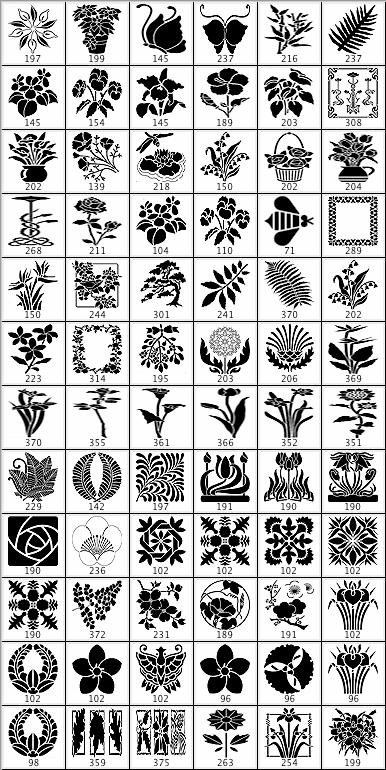 鲜花盆景花纹图案ps笔刷样式图