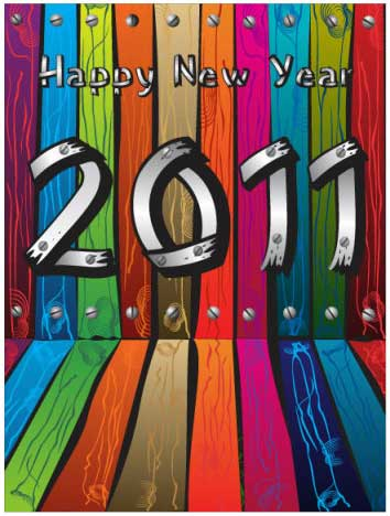 又一组2011艺术字矢量素材,以灰白色的木板和螺丝帽所组合而成的2011艺术字效果,整体背景采用彩色的木板为主。