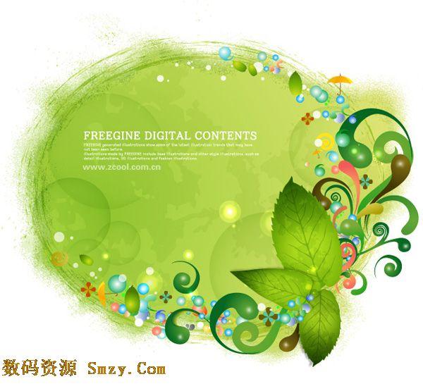 绿色缤纷花纹背景和绿叶矢量素材