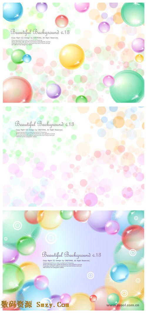 梦幻透明球水泡背景矢量素材