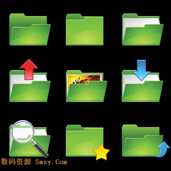 绿色文件夹图标矢量素材
