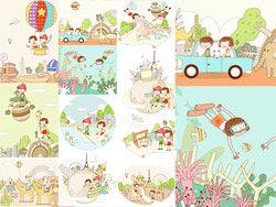 儿童梦幻旅行主题矢量素材
