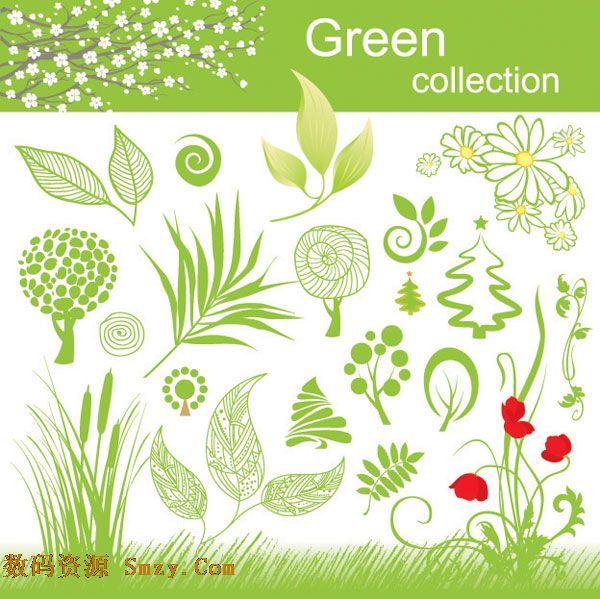 绿色花草植物矢量图素材下载