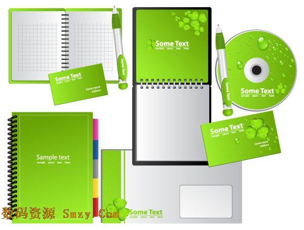 绿色笔记本光盘和便签矢量图下载