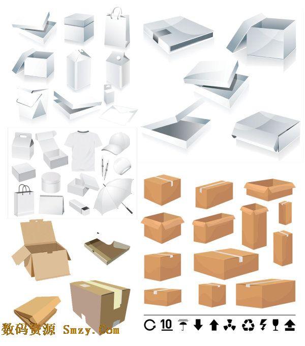 空白包装盒手提袋和纸箱矢量素材