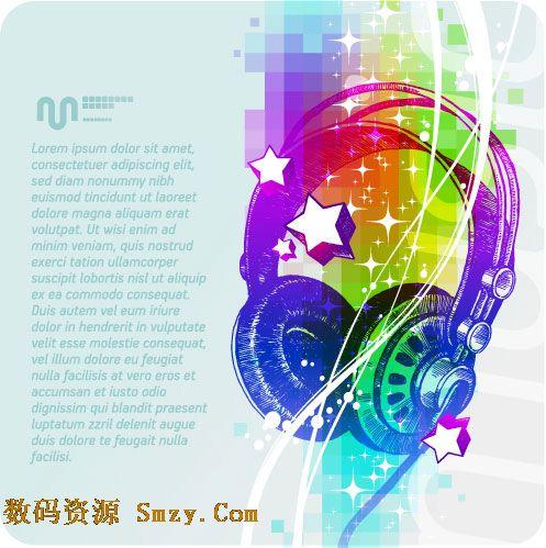 作为背景的卡片矢量素材,在卡片上还配以精美而又炫彩的耳机耳麦图形