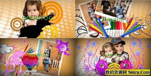 ae片头模板卡通风格的儿童相片展示模板