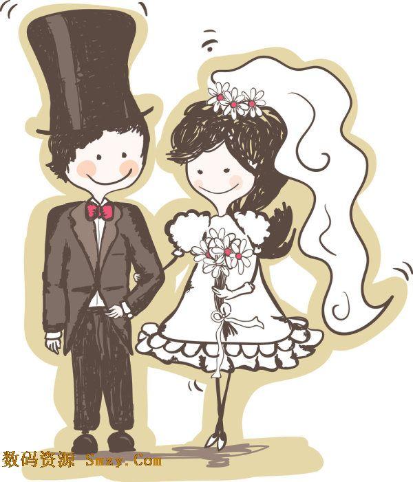手绘卡通新郎新娘人物矢量图片素材