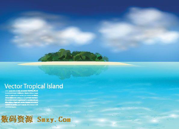 一张大海中的绿色岛屿矢量图片素材,蔚蓝的天空下,一平如镜的大海中
