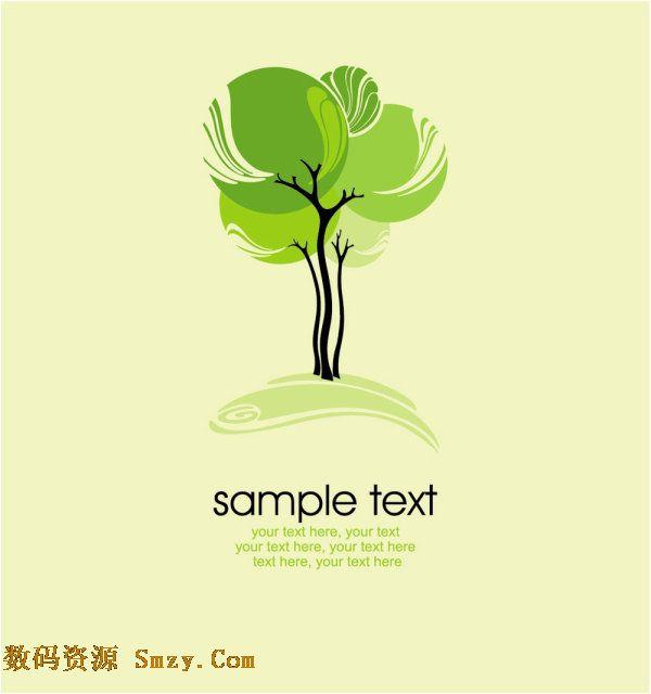 eps矢量格式,以绿色环保作为主要表现主题,绿意葱葱的树冠树叶和下面