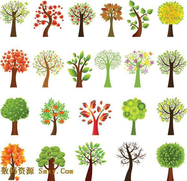 可爱卡通树木图片素材
