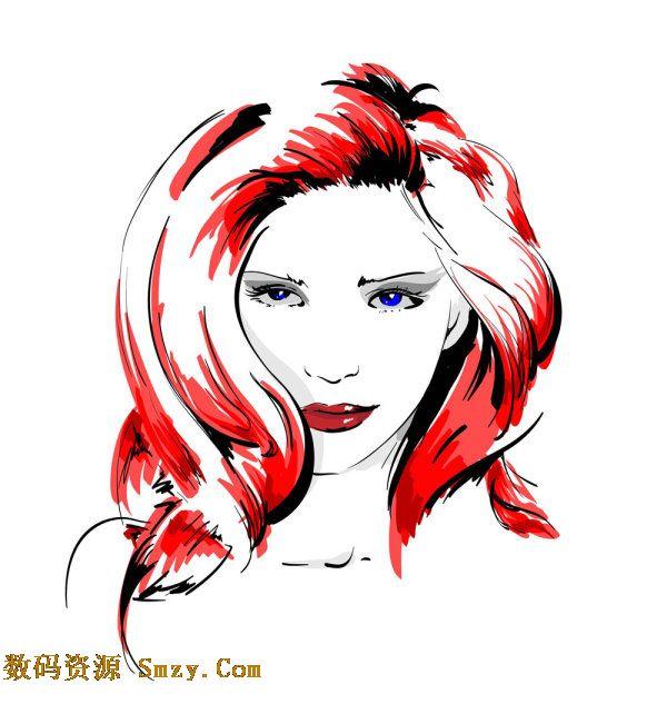 人物头像手绘矢量素材,红色的披肩长发,俊俏的脸庞和那性感的小嘴