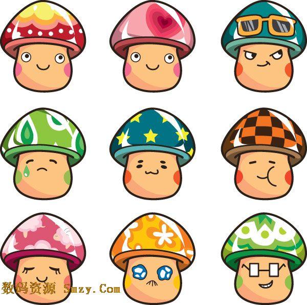 卡通蘑菇图标矢量素材