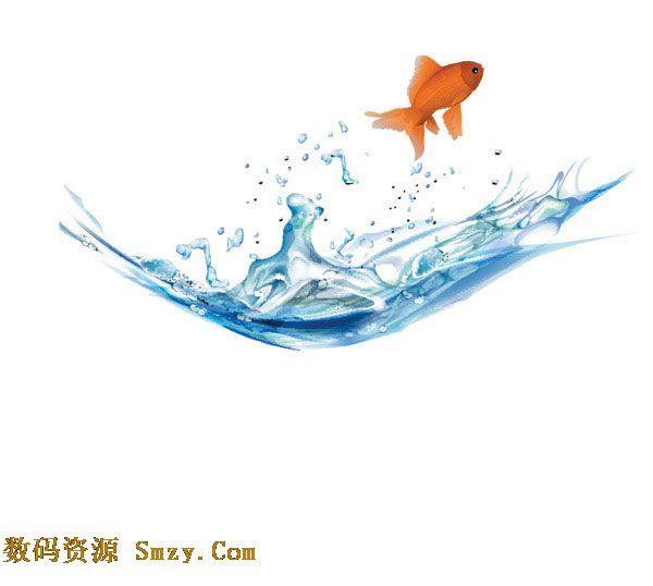 跳跃的金鱼图片矢量素材