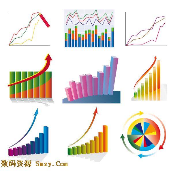 一组以数据统计图片为主题的矢量图片素材,内有曲线统计样式,也有柱体