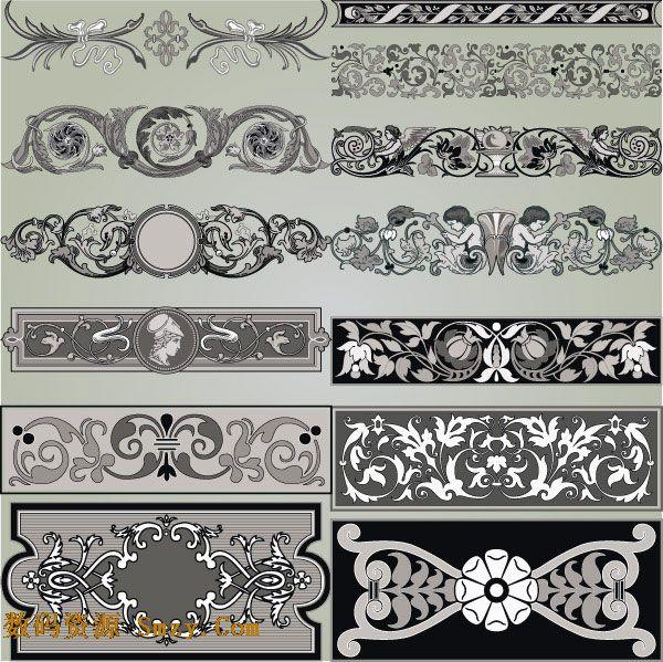 欧式花纹边框图片矢量素材