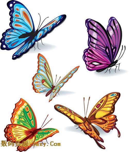 内含多款样式不同的精美彩色蝴蝶图片,有蓝色的蝴蝶,也有紫色的蝴蝶