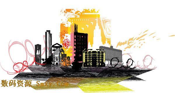 城市楼房建筑剪影矢量图片素材