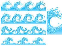 蓝色波浪浪花矢量图片素材