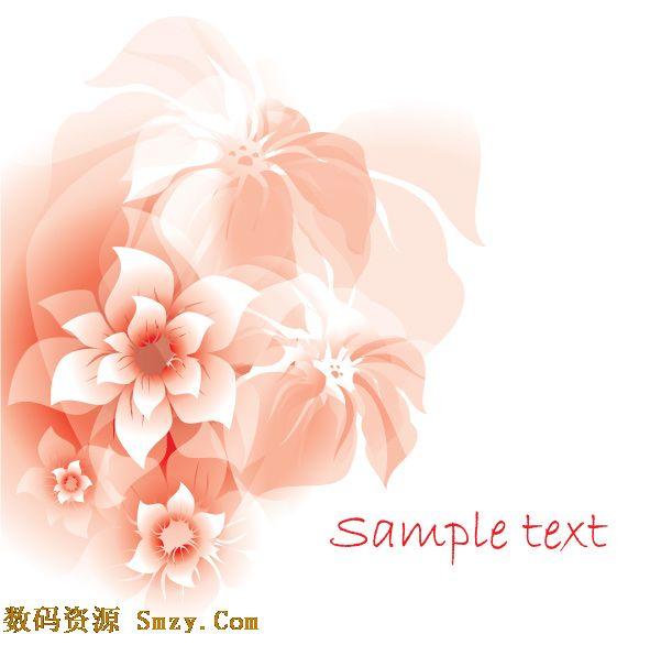 背景,上面镶嵌着粉色的可爱花卉花朵图形,整个素材看起来梦幻而又典雅
