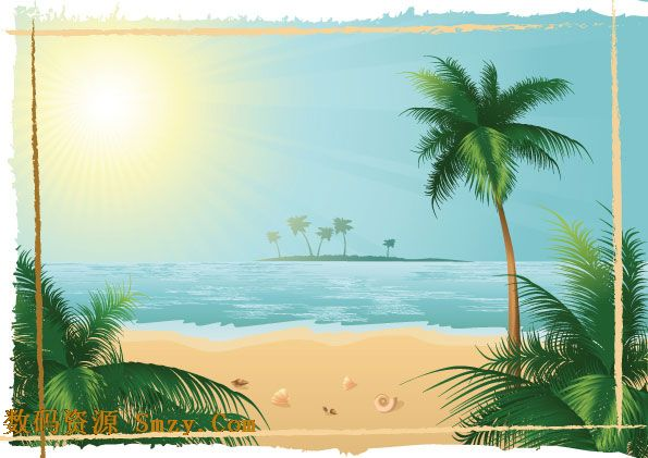 海边沙滩贝克椰树风景矢量图片素材