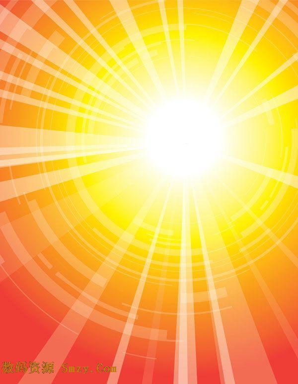一张以太阳图片为主题的矢量图片素材,金黄se的太阳发射出光芒四射的
