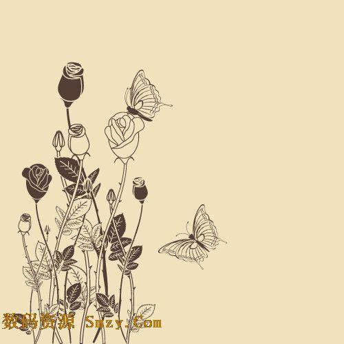手绘玫瑰花及蝴蝶图片矢量素材