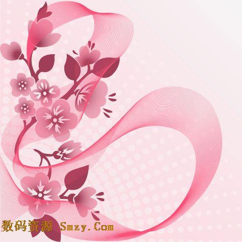粉色桃花背景图片矢量素材