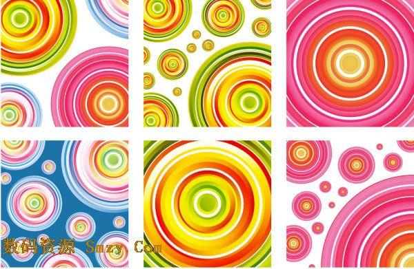 彩色圆圈圆环背景图片矢量素材