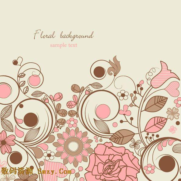 典雅手绘花纹花卉背景矢量素材