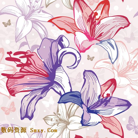 这是一张手绘风格的精美线稿花卉花朵背景矢量图片素材,以线条而勾勒出的精美花卉花朵图形,每一朵造型都所有不同,颜色各异,有红色的花朵,紫色的花朵以及蓝色的等多种色彩,同时在花朵丛中还有魅力的蝴蝶飞舞于其中。