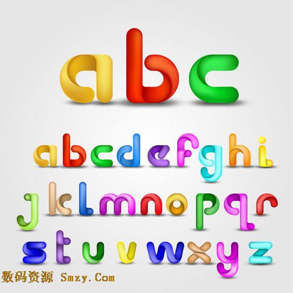 十分具有创意设计的英文字母图片矢量素材,内有从a到z共26个英文字母