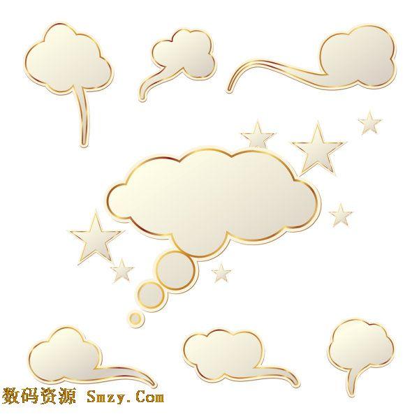 金边云朵对话框矢量素材