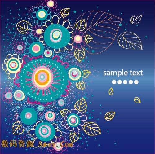 这是一张具有古典风格的花纹线稿图案矢量素材,以深蓝色作为素材背景