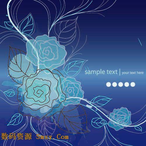 以深蓝色作为素材背景的主要色调,以黑白的线条 进行花纹图形的勾勒