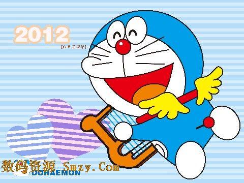 哆啦a梦系列中的封面封皮模板,以蓝色的线条作为2012儿童台历模板背景