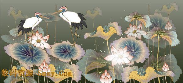 手绘插画之仙鹤与迎客松矢量素材