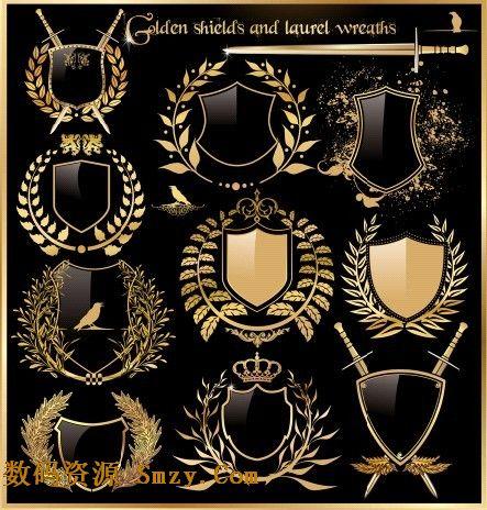 金色奖牌徽章和奖杯矢量素材