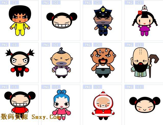 中式卡通形象图标素材图片