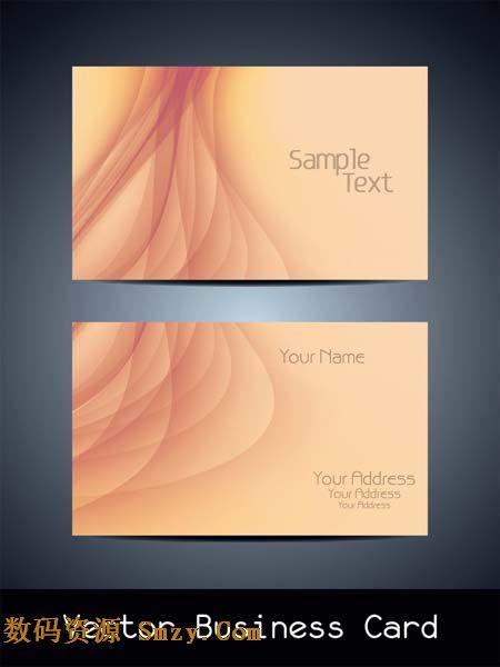 柔美线条名片背景设计矢量素材图片