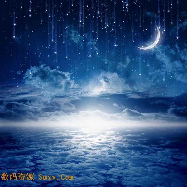 夜晚唯美星空流星雨高清图片下载图片