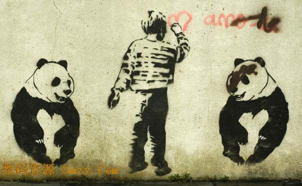 图画不仅仅可以绘画在纸上,墙壁也不不错的画卷,这款墙壁涂鸦之国宝熊猫高清图片就是高人在泛白墙壁上的涂鸦作品,画面中展示的是两只黑白熊猫,中间一男孩的背影正在用红色的颜料绘画着心形,此张作品充分证明了一句话:高手在民间,详细还请见JPG缩略图,欢迎下载收藏!
