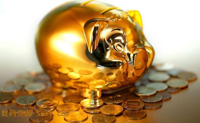 土豪金小金猪储蓄罐高清图片