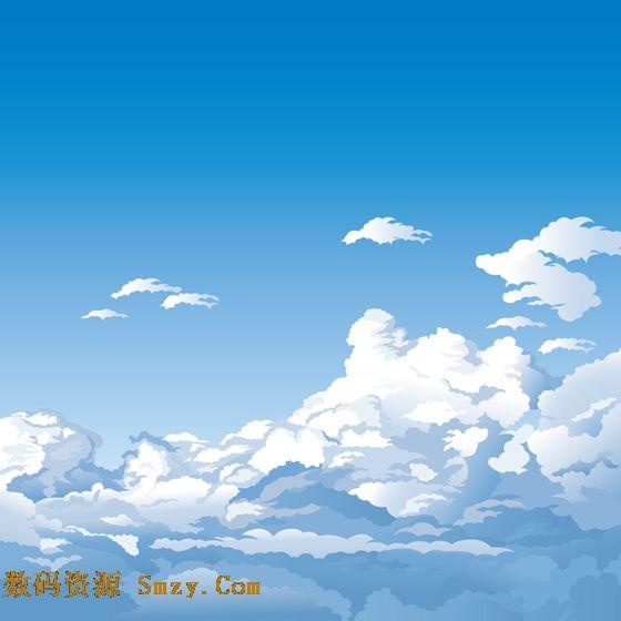 卡通蓝天白云图片矢量素材