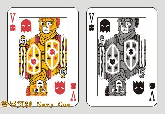 扑克鬼牌设计风格展示矢量素材,一般此类牌型分为两种,一种彩色为大王