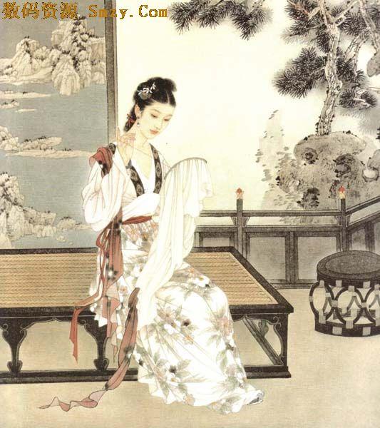 古代绣娘刺绣图片矢量素材