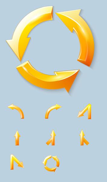 此张 金色箭头指示标志矢量素材展示了不同的金色箭头,有圆环形围绕而