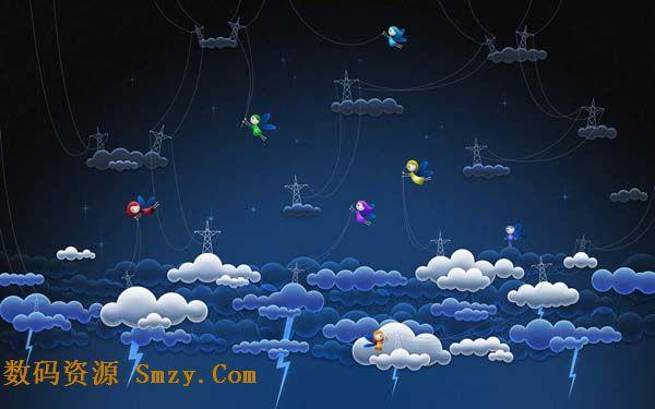 卡通云朵中的闪电精灵高清图片下载图片